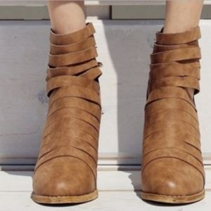 Tan Strappy Boot Bootie - -Perfect for FALL!
